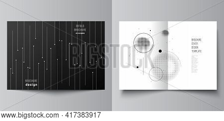 Vector Layout Of Two A4 Format Cover Mockups Design Templates For Bifold Brochure, Flyer, Magazine,