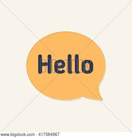 Hi, Hello. Banner, Speech Bubble, Poster And Sticker Concept With Text Hello. White Bubble Message H