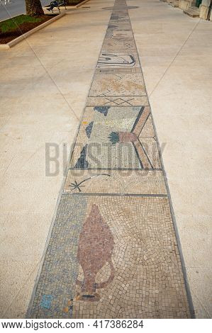 Mosaic In Main Street In Vela Luka, On Korcula Island At Adriatic Sea, Croatia