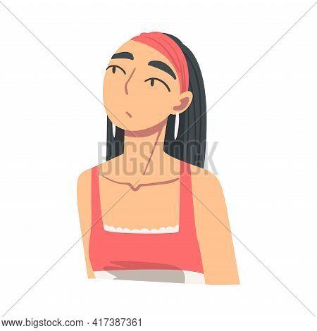 Portrait Of Pensive Brunette Girl Looking Up Cartoon Vector Illustration