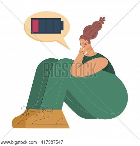A Tired Woman Sits With A Dead Battery. A Tired Woman Is In A State Of Emotional Burnout Or Mental D