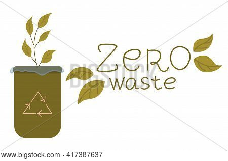Zero Waste, Objects Are Isolated White Background. Recycling Garbage, Natural Products, No Plastic.