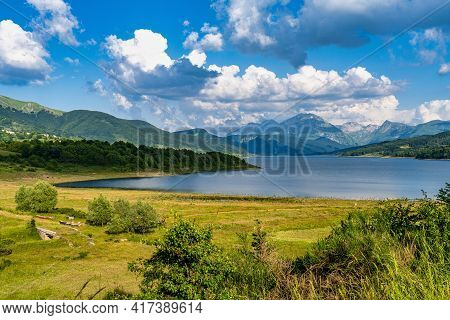 Lake Of Campotosto In Abruzzo, Italy. A Huge Artificial Lake At 1400 Meters Above Sea Level, In The