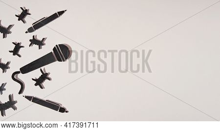 World Press Freedom Day Concept. 3 May. A Microphone And A Pen Made Of Paper, As A Symbol Of Freedom