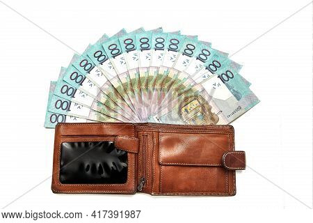 Wallet With Paper Money In Hand Isolated On White Background. Banknote Of One Hundred Belarusian Rub
