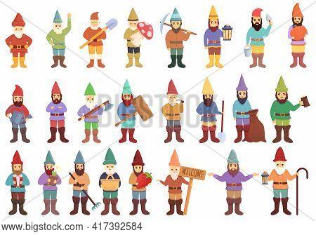 Garden Gnome Icons Set. Cartoon Set Of Garden Gnome Vector Icons For Web Design