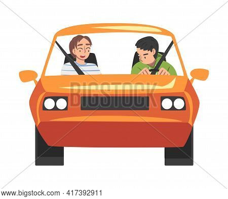 Front View Of People Riding Orange Car, Male Driver Driving Vehicle And Woman Sitting In Passenger S