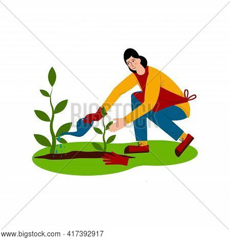 Young Woman Is Watering Plants. A Hobby Is Gardening. The Joy Of Working Outdoors. Flat Style Vector