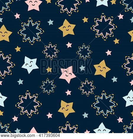 Seamless Pattern On A Dark Background Funny Stars. Creative Original Modern Kids Background With Sta