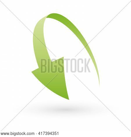 Loop Circle Arrow Icon. Abstract Symbol Of Refresh, Reload Or Recycle. Simple Green 3d Vector Sign W