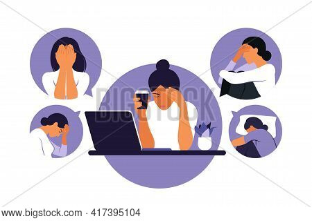 Woman In Depression With Bewildered Thoughts In Her Mind. Young Sad Girl Sitting At Laptop. Vector I