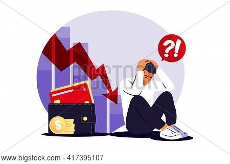 Depressed Sad Man Thinking Over Problems. Bankruptcy, Loss, Crisis, Trouble Concept. Vector Illustra