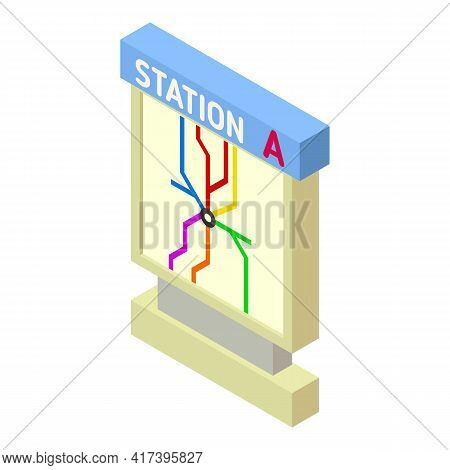 Railway Station Light Board Icon. Isometric Of Railway Station Light Board Vector Icon For Web Desig