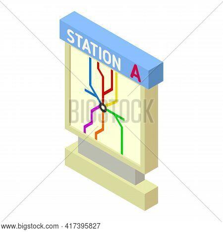 Railway Station Light Board Icon. Isometric Of Railway Station Light Board Vector Icon For Web Desig