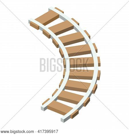 Railway Line Icon. Isometric Of Railway Line Vector Icon For Web Design Isolated On White Background