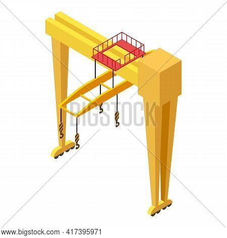 Railway Big Crane Icon. Isometric Of Railway Big Crane Vector Icon For Web Design Isolated On White
