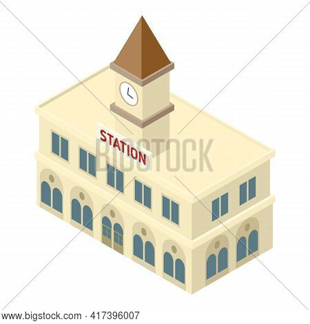 Railway Station Building Icon. Isometric Of Railway Station Building Vector Icon For Web Design Isol
