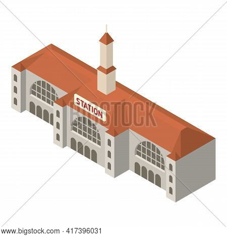 Old Railway Station Icon. Isometric Of Old Railway Station Vector Icon For Web Design Isolated On Wh