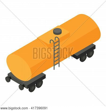 Train Tank Wagon Icon. Isometric Of Train Tank Wagon Vector Icon For Web Design Isolated On White Ba