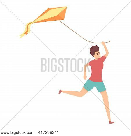 Boy Running With Kite Icon. Cartoon Of Boy Running With Kite Vector Icon For Web Design Isolated On