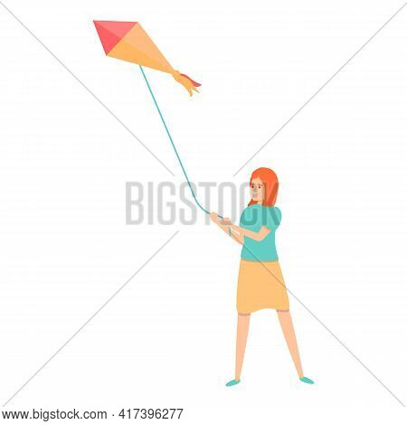 Girl Playing Kite Icon. Cartoon Of Girl Playing Kite Vector Icon For Web Design Isolated On White Ba