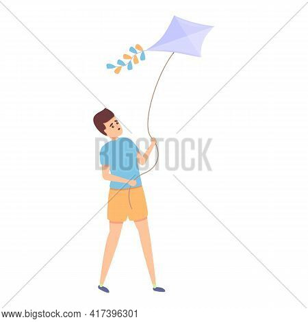 Park Playing Kite Icon. Cartoon Of Park Playing Kite Vector Icon For Web Design Isolated On White Ba