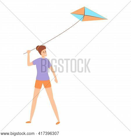 Activity Playing Kite Icon. Cartoon Of Activity Playing Kite Vector Icon For Web Design Isolated On
