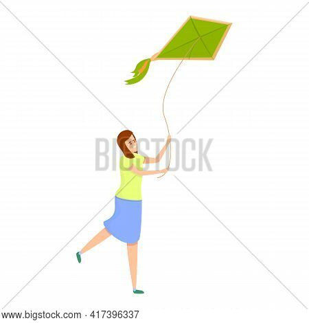 Amusement Playing Kite Icon. Cartoon Of Amusement Playing Kite Vector Icon For Web Design Isolated O