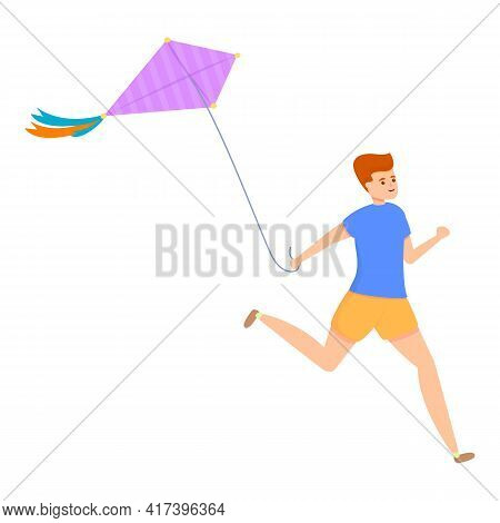 Sky Playing Kite Icon. Cartoon Of Sky Playing Kite Vector Icon For Web Design Isolated On White Back