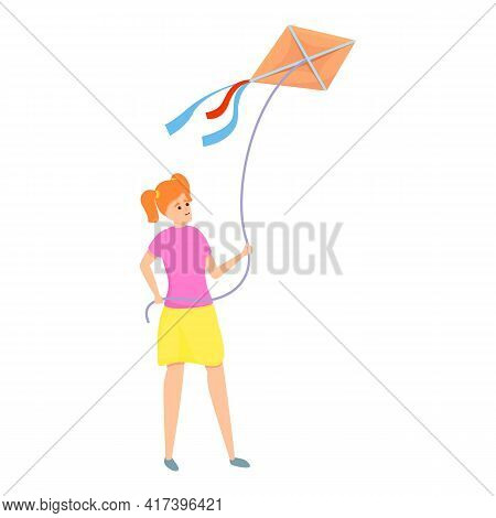 Child Playing Kite Icon. Cartoon Of Child Playing Kite Vector Icon For Web Design Isolated On White