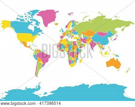 Minimalist World Map. Each Country Is Separated And Rounded Shape. Colorful Simple Flat Vector Map.