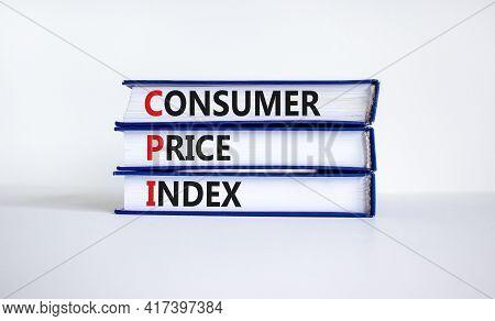 Cpi, Consumer Price Index Symbol. Books With Words 'cpi, Consumer Price Index'. Beautiful White Back