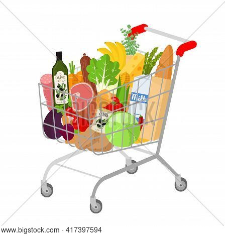Full Shopping Grocery Supermarket Cart. Flat Design Isolated Vector Illustration Of Self-service Sho