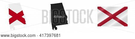 Alabama Us State Map With Masked Flag. Detailed Silhouette. Waving Flag. Vector Illustration Isolate