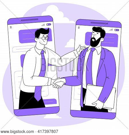 Online Agreement Or Contract. Businessmen Shaking Hands After Successful Negotiations. Online Busine