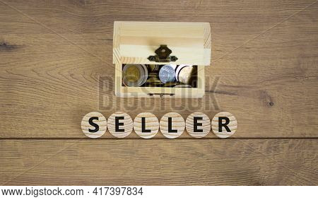 Seller Symbol. Concept Word Seller On Wooden Cubes On A Beautiful Wooden Background, Small Wooden Ch