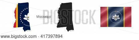 Mississippi. Map With Masked Flag. Detailed Silhouette. New Magnolia Flag. Waving Flag. Vector Illus