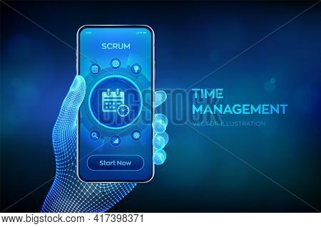 Time Management Concept Planning, Organization, Working Time. Project Management Efficiency Succesfu