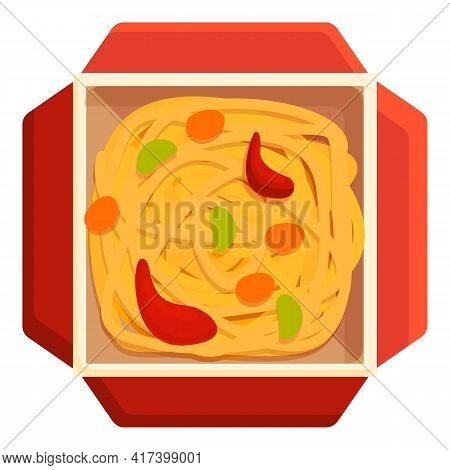 Fire Wok Food Icon. Cartoon Of Fire Wok Food Vector Icon For Web Design Isolated On White Background