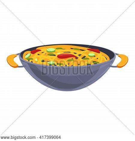 Wok Food Chinese Icon. Cartoon Of Wok Food Chinese Vector Icon For Web Design Isolated On White Back