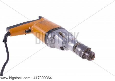 Old Drill For Making Holes. Dirty And Damaged Tools For Mechanics.
