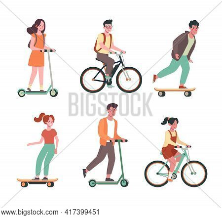 Children Ride Bicycles, Skateboards, Scooters. Flat Vector Collection With Childs On Electric Transp