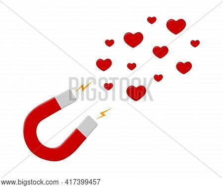 Red Horseshoe Magnet Attracting Hearts Isolated On White Background. Social Media Likes. Magnetic Po