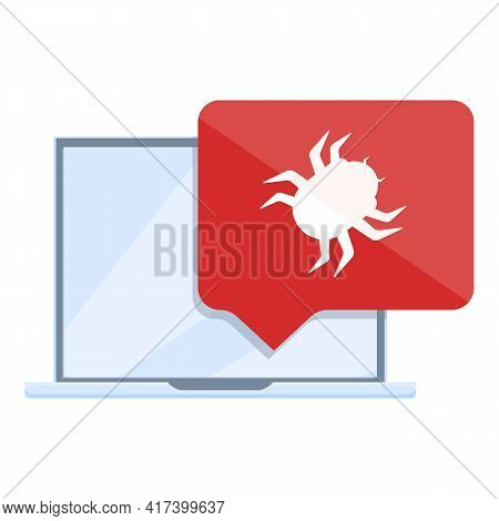 Virus Malware Laptop Icon. Cartoon Of Virus Malware Laptop Vector Icon For Web Design Isolated On Wh
