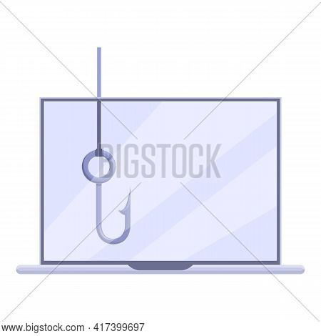 Phishing Laptop Data Icon. Cartoon Of Phishing Laptop Data Vector Icon For Web Design Isolated On Wh