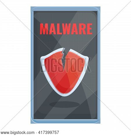 Infected Smartphone Icon. Cartoon Of Infected Smartphone Vector Icon For Web Design Isolated On Whit