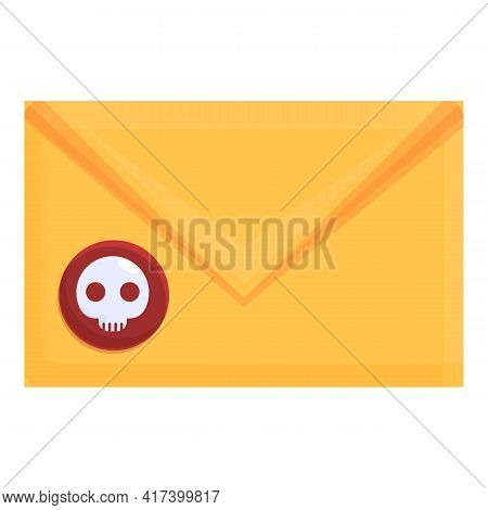 Hacker Mail Malware Icon. Cartoon Of Hacker Mail Malware Vector Icon For Web Design Isolated On Whit