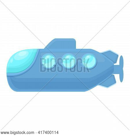 Water Submarine Icon. Cartoon Of Water Submarine Vector Icon For Web Design Isolated On White Backgr