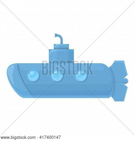 Vessel Submarine Icon. Cartoon Of Vessel Submarine Vector Icon For Web Design Isolated On White Back