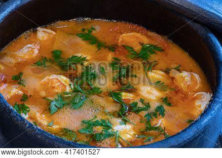 Moqueca De Camarao - Brazilian Shrimp In Coconut Milk And Palm Oil. Accompanies Manioc Flour And Ric